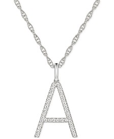 "Diamond Initial 18"" Pendant Necklace (1/6 to 1/3 ct. t.w.) in 14k White Gold"
