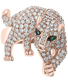 EFFY® Diamond (1-1/6 ct. t.w.) & Emerald Accent Panther Ring in 14k Rose Gold