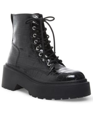 Steve Madden Women's Slasher Platform Combat Booties In Black Croco