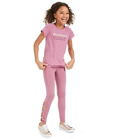 Big Girls Cross-Back T-Shirt & Caged Leggings, Created For Macy's
