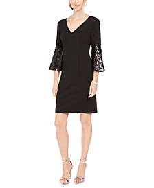 Sequined-Sleeve Shift Dress