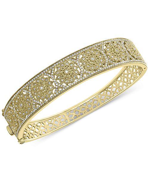 EFFY Collection EFFY® Diamond Openwork Filigree Bangle Bracelet (1-1/4 ct. t.w.) in 14k Gold