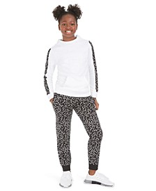 Big Girls Fleece Hoodie, Keyhole-Cutout T-Shirt & Printed Fleece Pants, Created For Macy's