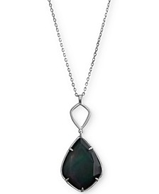 "Silver-Tone Reversible White & Black Stone Long Pendant Necklace, 30 + 2"" extender"
