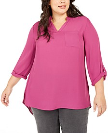 Plus Size Split-Neck Roll-Tab-Sleeve Top