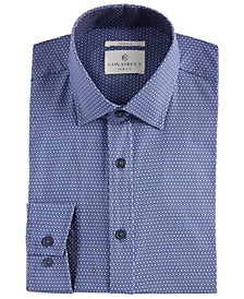 Men's Slim-Fit Performance Stretch Geo-Print Cooling Comfort Dress Shirt, Created for Macy's