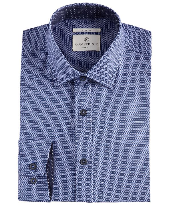 ConStruct Men's Slim-Fit Performance Stretch Geo-Print Cooling Comfort Dress Shirt, Created for Macy's