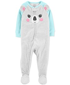 Baby Girls Koala Bear Fleece Footed Pajamas