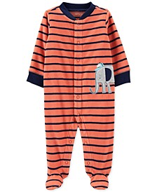 Baby Boys Elephant Striped Fleece Sleep 'N' Play Footed Coveralls