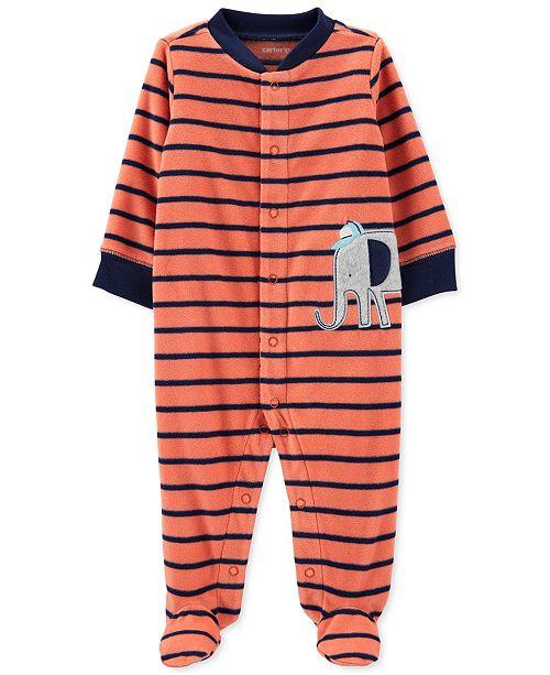 Carter's Baby Boys Elephant Striped Fleece Sleep 'N' Play Footed Coveralls
