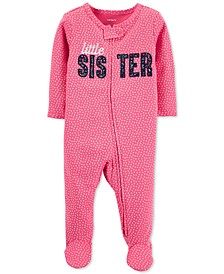 Baby Girls Cotton Little Sister Footed Coverall
