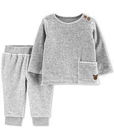 Baby Boys & Girls 2-Pc. Velour T-Shirt & Striped Pants Set