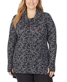 Plus Size Softwear With Stretch Cowlneck Tunic