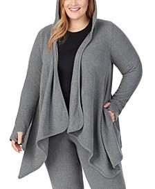 Plus Size Fleecewear With Stretch Hooded Wrap