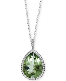 "EFFY® Green Quartz (7-1/20 ct. t.w.) & Diamond (1/5 ct. t.w.) 18"" Teardrop Pendant Necklace in 14k White Gold"