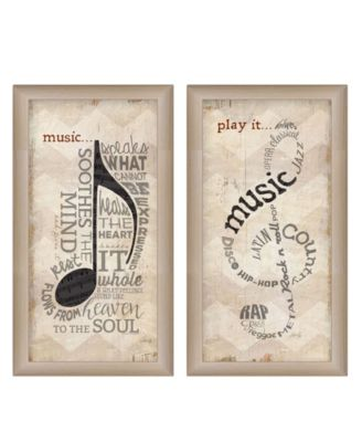 """Music Collection By Marla Rae, Printed Wall Art, Ready to hang, Beige Frame, 12"""" x 21"""""""
