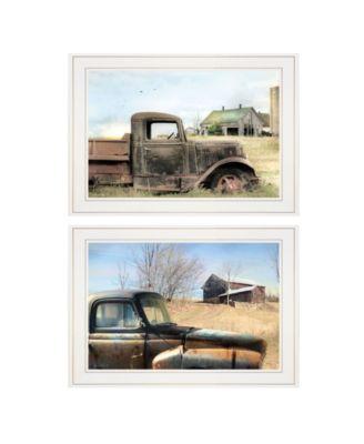 "Vintage-Like Farm Trucks 2-Piece Vignette by Lori Deiter, White Frame, 21"" x 15"""