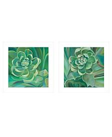 "Emerald Jade Succulent 2-Piece Vignette by Eve Wheeler, White Frame, 15"" x 15"""