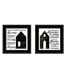 """House/Blessing 2-Piece Vignette by Cindy Jacobs, Black Frame, 15"""" x 15"""""""