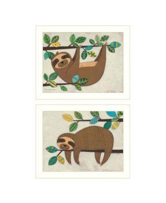"Cute Sloths 2-Piece Vignette by Bernadette Deming, White Frame, 18"" x 14"""