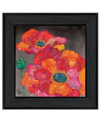 Blooms on Black II by Lisa Morales, Ready to hang Framed Print, White Frame, 15