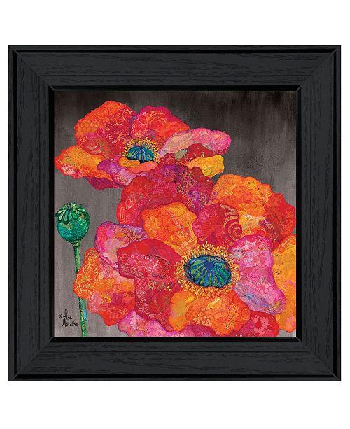 "Trendy Decor 4U Trendy Decor 4U Blooms on Black II by Lisa Morales, Ready to hang Framed Print, Black Frame, 15"" x 15"""