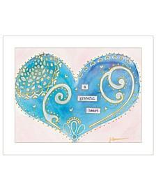 "Trendy Decor 4U A Grateful Heart by Lorri Hanna, Ready to hang Framed Print, White Frame, 19"" x 15"""