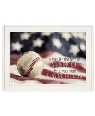 """Baseball - Playing the Game by Lori Deiter, Ready to hang Framed Print, White Frame, 21"""" x 15"""""""
