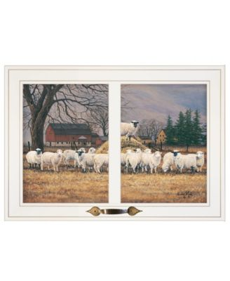 """Wool Gathering by Bonnie Mohr, Ready to hang Framed Print, White Window-Style Frame, 21"""" x 15"""""""
