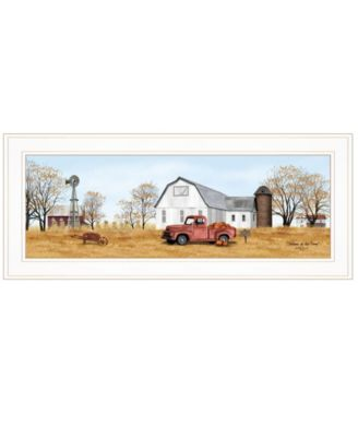 """Autumn on Farm by Billy Jacobs, Ready to hang Framed Print, White Frame, 27"""" x 11"""""""