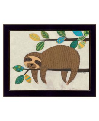 "Hanging Sloth II by Bernadette Deming, Ready to hang Framed Print, Black Frame, 18"" x 14"""