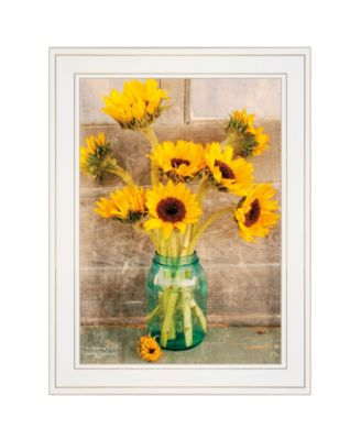 """Country Sunflowers I by Anthony Smith, Ready to hang Framed print, White Frame, 15"""" x 19"""""""
