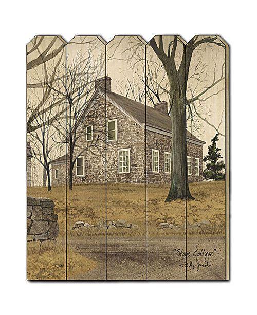 "Trendy Decor 4U Trendy Decor 4U Stone Cottage by Billy Jacobs, Printed Wall Art on a Wood Picket Fence, 16"" x 20"""