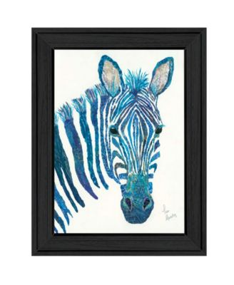 Blue Zebra by Lisa Morales, Ready to hang Framed Print, White Frame, 15