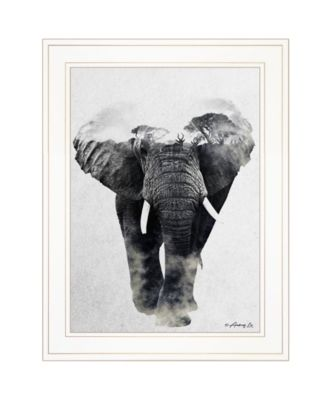 """Elephant Walk by andreas Lie, Ready to hang Framed Print, White Frame, 15"""" x 19"""""""