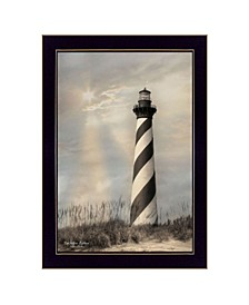 """Cape Hatteras Lighthouse By Lori Deiter, Printed Wall Art, Ready to hang, Black Frame, 14"""" x 20"""""""