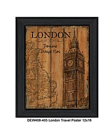 "London Travel Poster By Debbie DeWitt, Printed Wall Art, Ready to hang, Black Frame, 14"" x 18"""