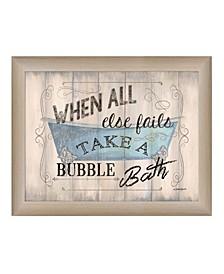 "Take a Bubble Bath By Debbie DeWitt, Printed Wall Art, Ready to hang, Beige Frame, 18"" x 14"""