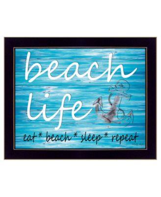 "Beach Life By Cindy Jacobs, Printed Wall Art, Ready to hang, Black Frame, 18"" x 14"""