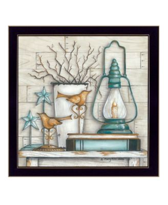 """Lantern on Books By Mary June, Printed Wall Art, Ready to hang, Black Frame, 14"""" x 14"""""""