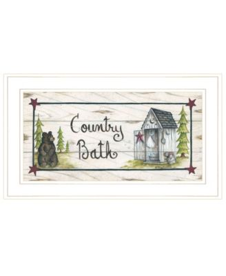"""Country Bath by Mary Ann June, Ready to hang Framed Print, White Frame, 21"""" x 12"""""""