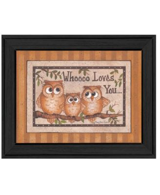 """Whoooo Loves You By Mary June, Printed Wall Art, Ready to hang, Black Frame, 18"""" x 14"""""""
