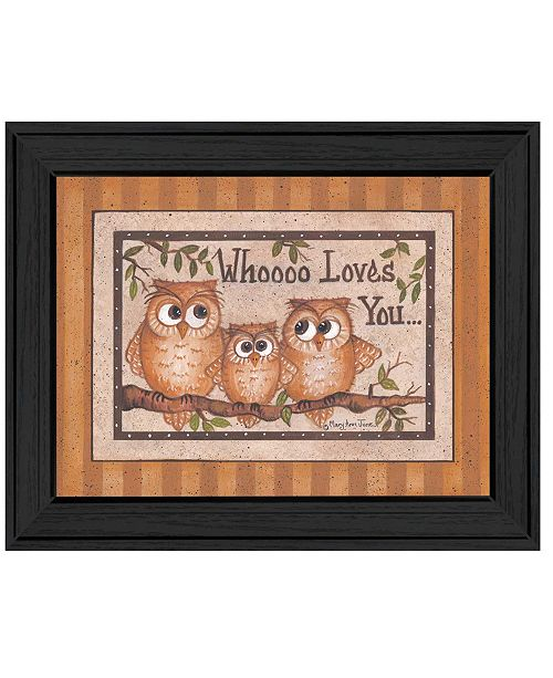 "Trendy Decor 4U Trendy Decor 4U Whoooo Loves You By Mary June, Printed Wall Art, Ready to hang, Black Frame, 18"" x 14"""