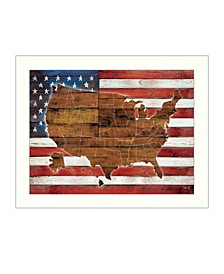 "American Flag USA Map By Marla Rae, Printed Wall Art, Ready to hang, White Frame, 26"" x 20"""