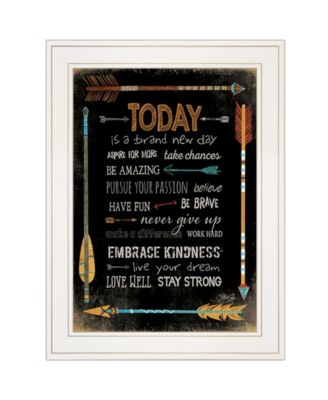 """Today Is a Brand New Day by Marla Rae, Ready to hang Framed Print, White Frame, 21"""" x 27"""""""