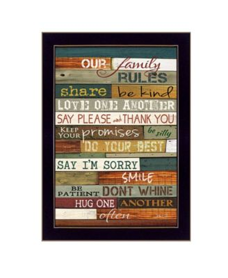 """Our Family Rules By Marla Rae, Printed Wall Art, Ready to hang, Black Frame, 14"""" x 10"""""""