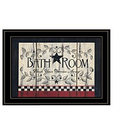 "Bath Room by Linda Spivey, Ready to hang Framed Print, Black Frame, 19"" x 15"""