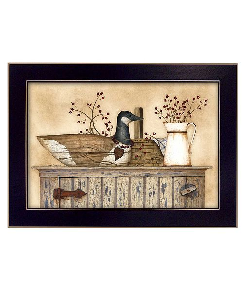 "Trendy Decor 4U Trendy Decor 4U Duck and Berry Still Life By Linda Spivey, Printed Wall Art, Ready to hang, Black Frame, 20"" x 14"""