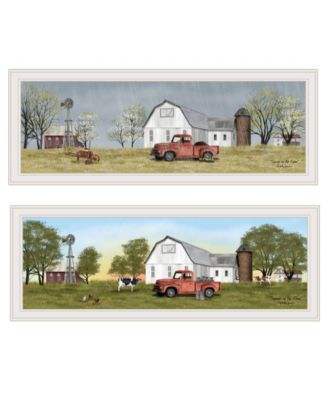 "Billy Jacobs Summer/Spring Seasonal 2-Piece Vignette, White Frame, 39"" x 15"""