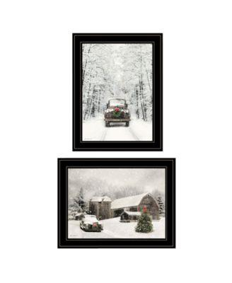 Antique Christmas 2-Piece Vignette by Lori Deiter, Black Frame, 19